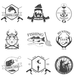 Set of vintage labels on hunting vector image