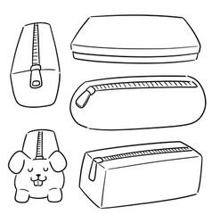set pencil case vector image