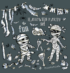 set pictures halloween party mummy fun vector image