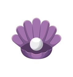 Shell with pearl icon Sea life design vector image