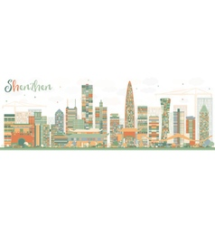 Shenzhen Skyline with Color Buildings vector image