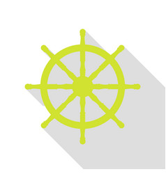 ship wheel sign pear icon with flat style shadow vector image