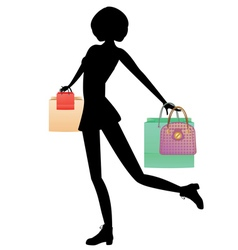 Shopping Girl with Bags Silhouette3 vector