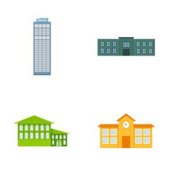 Skyscraper police hotel schoolbuilding set vector