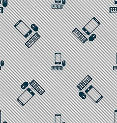 smartphone widescreen monitor keyboard mouse sign vector image