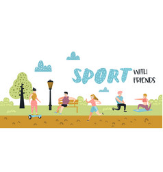 Summer outdoor sports activities active people vector