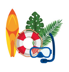 Surf board sport with float lifeguard and snorkel vector