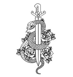 Tattoo with roses and snake sword and dagger vector