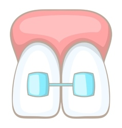 Teeth braces icon cartoon style vector