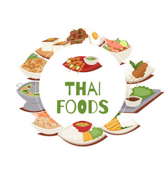 Thai food poster with thailand cuisine vector