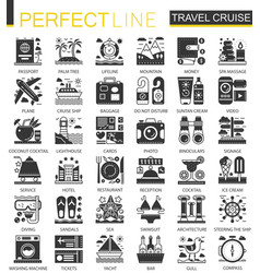 Travel cruise vacation black mini concept icons vector