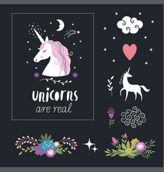 Unicorns flowers decor elements fantasy vector