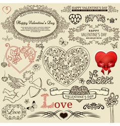 Valentine design elements vector