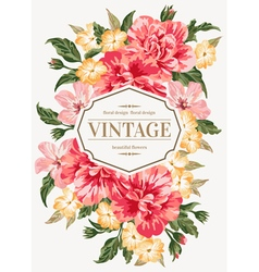 Vintage greeting card with colorful flowers vector