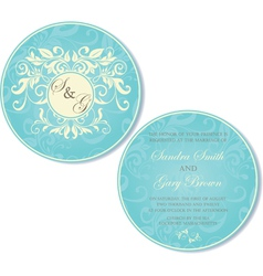 Vintage round invitation blue vector