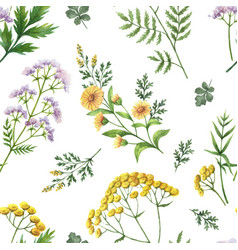 Watercolor seamless pattern with flowers vector