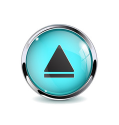 Web media button blue glass 3d icon with metal vector