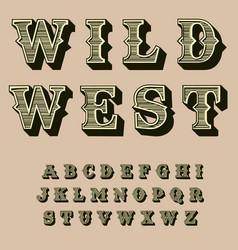 Western retro alphabet vintage typography vector