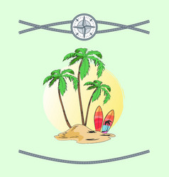 Wild island with three plams vector