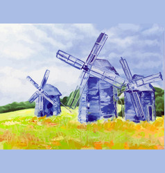 windmills of happiness oil canvas vector image