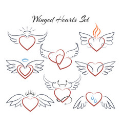 Winged heart set hearts with wings in doodle vector