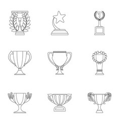 Winner cup set icons in outline style big vector