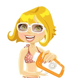 Woman in sunglasses presents cream for sunburn vector