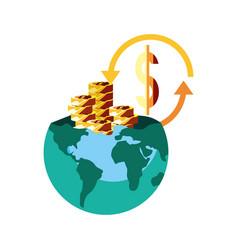World coins dollar exchange vector