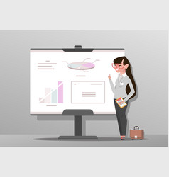 young woman in business suit making presentation vector image