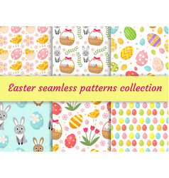 cute easter seamless pattern collection with birds vector image vector image