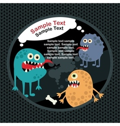 Cute monsters banner and bone vector image vector image