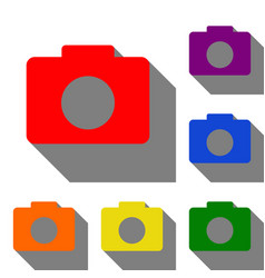 digital camera sign set of red orange yellow vector image vector image