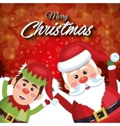 merry christmas santa claus elf happy red vector image