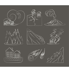 Natural disaster icon set vector image