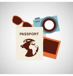 passport travel camera sunglasses vector image vector image