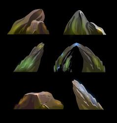 set with fantasy cartoon rock stone vector image