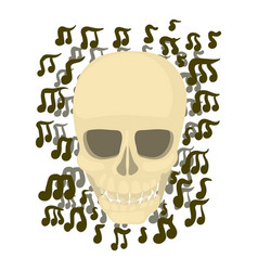 skull with notes icon cartoon style vector image