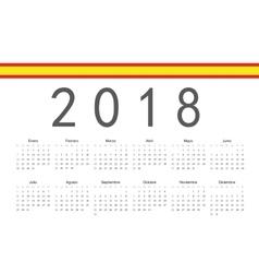 Spanish 2018 year calendar vector image