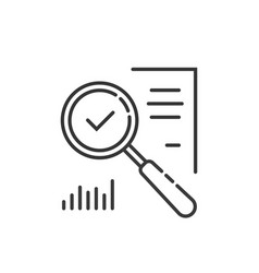 Thin line magnifying glass like audit assess vector