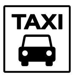 Black and White Taxi Sign vector image