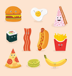 funny food cartoon characters isolated vector image vector image