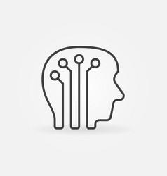 human head with digital brain icon vector image vector image