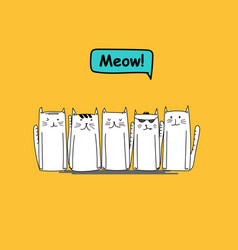 set of character cute cat on yellow background vector image