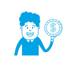 silhouette man with coin cash money in the hand vector image