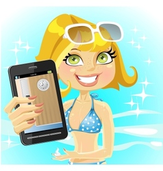 Woman on sea shows a photo of her office on the vector image vector image