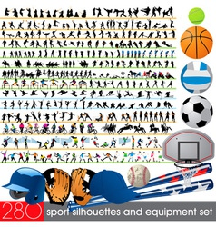 280 sport silhouettes and equipment set vector image vector image