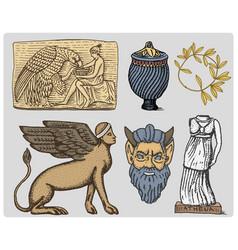 ancient greece antique symbols ganymede and eagle vector image vector image
