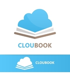 book and cloud logo concept vector image vector image