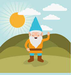 gnome fantastic character greeting expression in vector image vector image