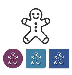 line icon of gingerbread man vector image
